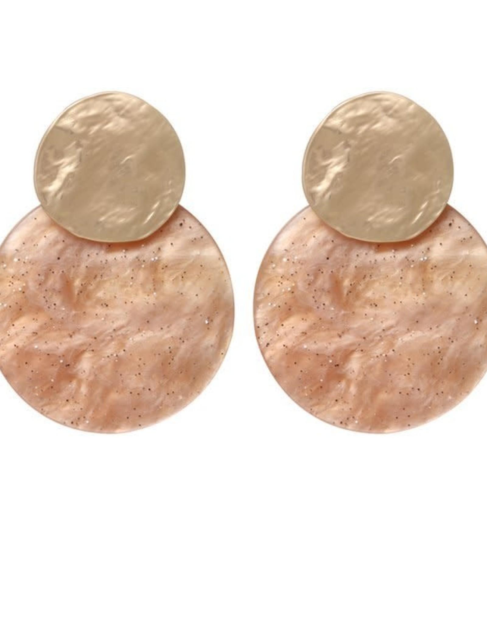 Biba Biba oorbel cirkel beige glitter klein
