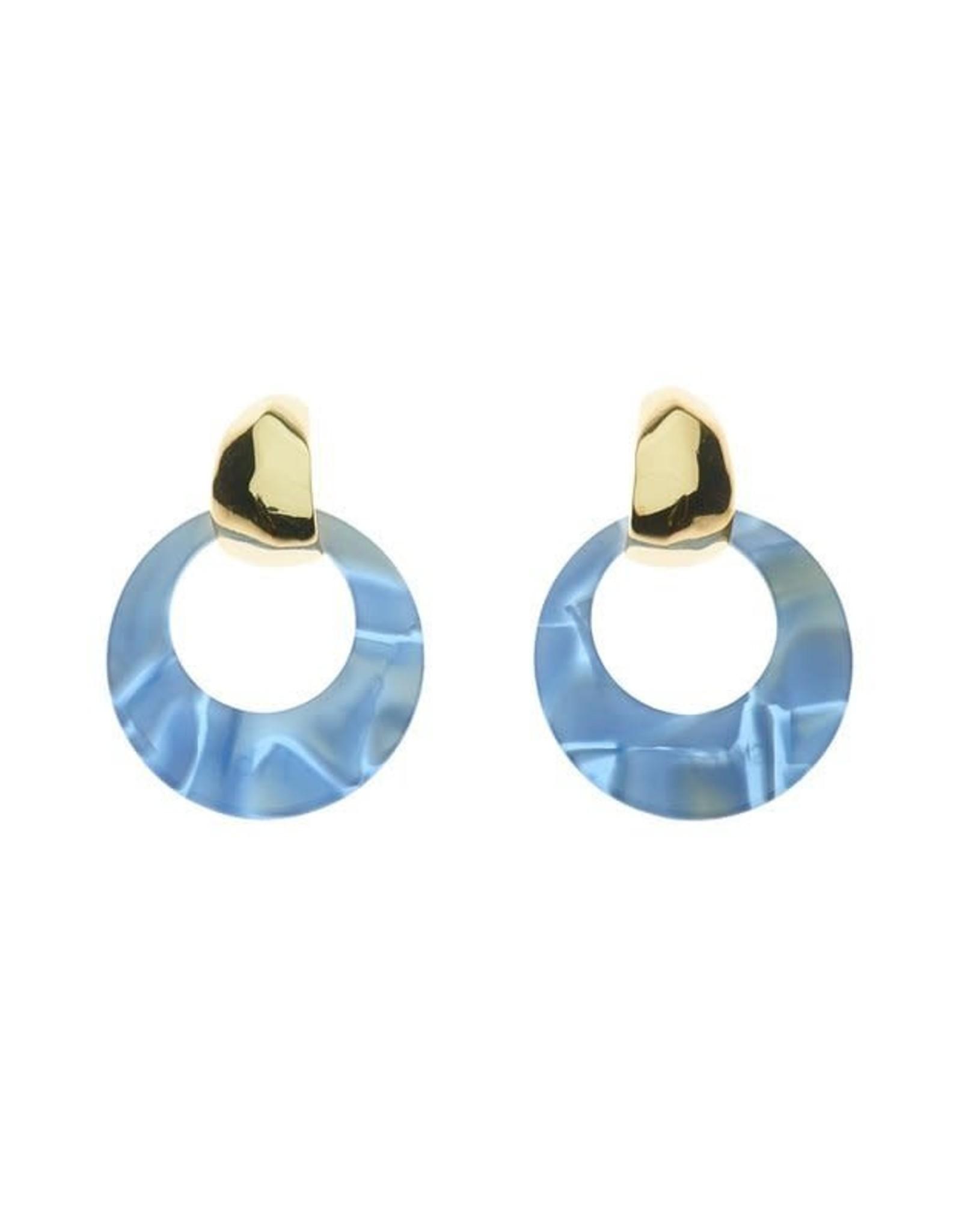 Biba Biba oorbel klein cirkeltje blauw met goud