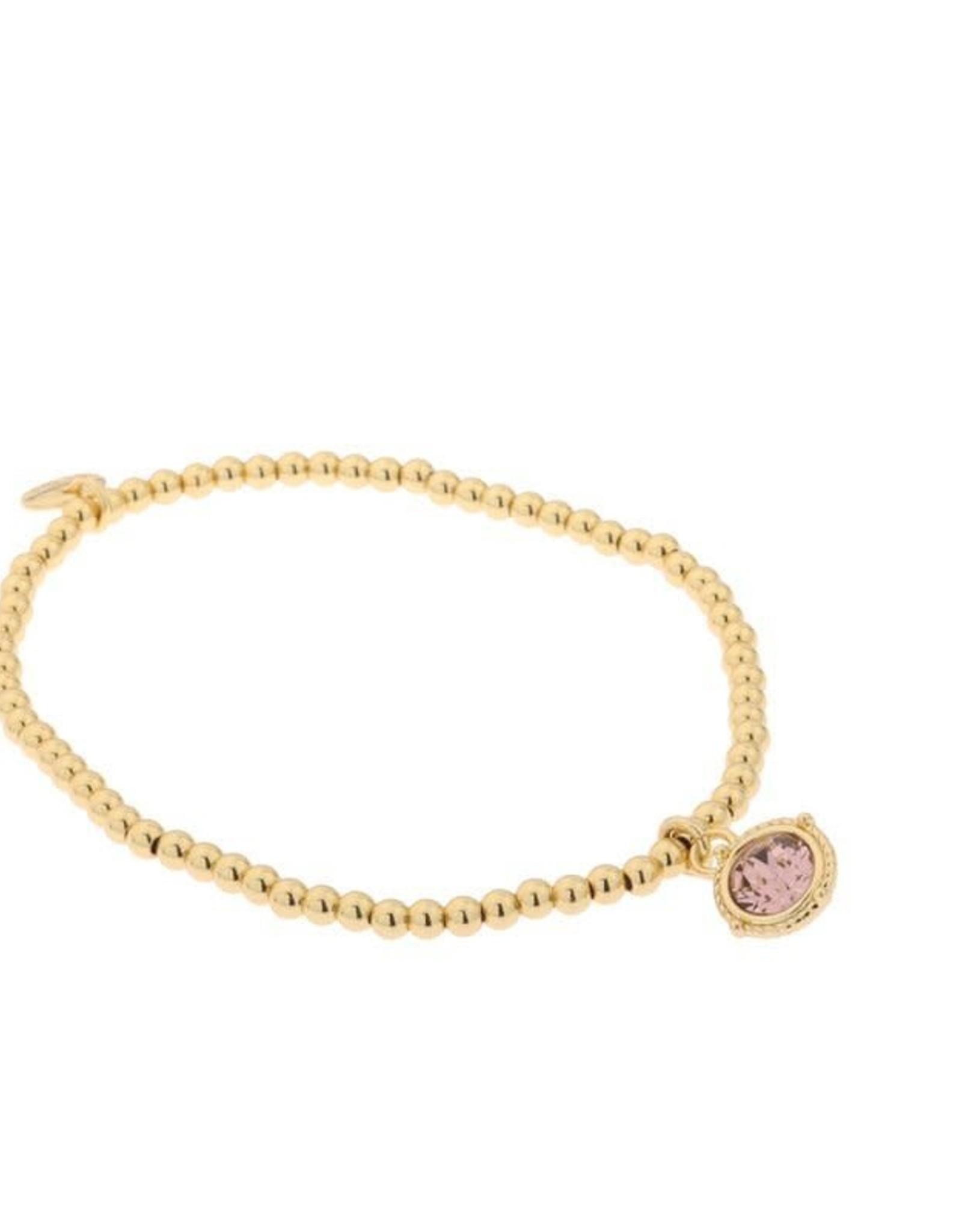 Biba Biba armband met swarovski steen vintage roze