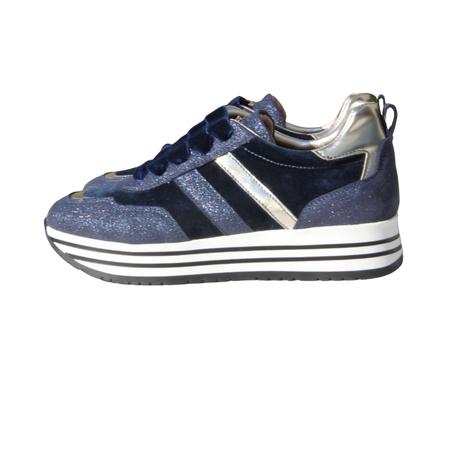 Sneaker blauw en goud