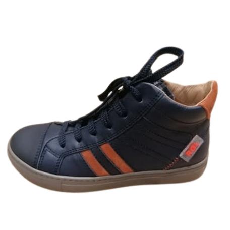Hoge sneaker donker blauw met oranje