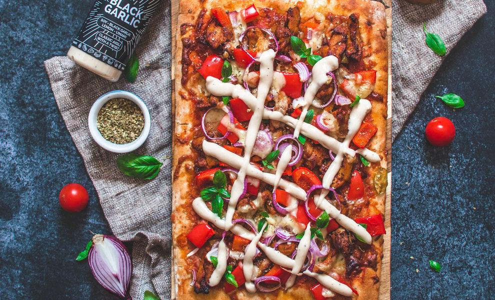 Roman Style Shawarma Pizza