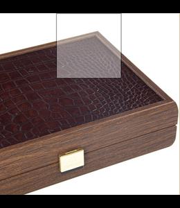 Manopoulos Manopoulos Speelkaarten in handgemaakt koffer 24x 17cm leder croco print