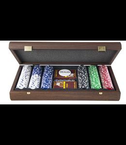 Manopoulos Manopoulos Poker set in donker walnoten houten handgemaakte koffer