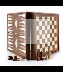 Manopoulos Manopoulos Schaak- en Backgammonspel 2 in 1 in een handgemaakte Wenge doos 27x27cm