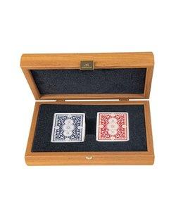 Manopoulos Manopoulos CVE20U Speelkaarten in handgemaakt koffer walnoot hout
