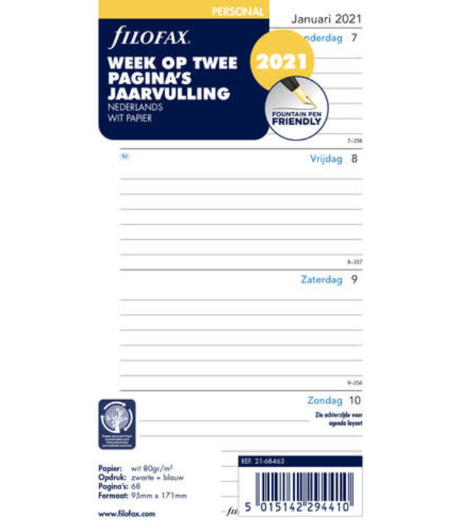 Filofax Filofax Personal Agenda-vulling 2021 (week/2pagina's) - Nederlandstalig