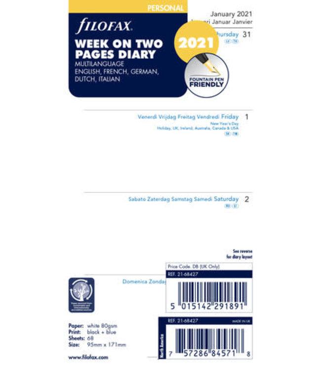 Filofax Filofax Personal Agenda-vulling 2021 (week/2 pagina's)
