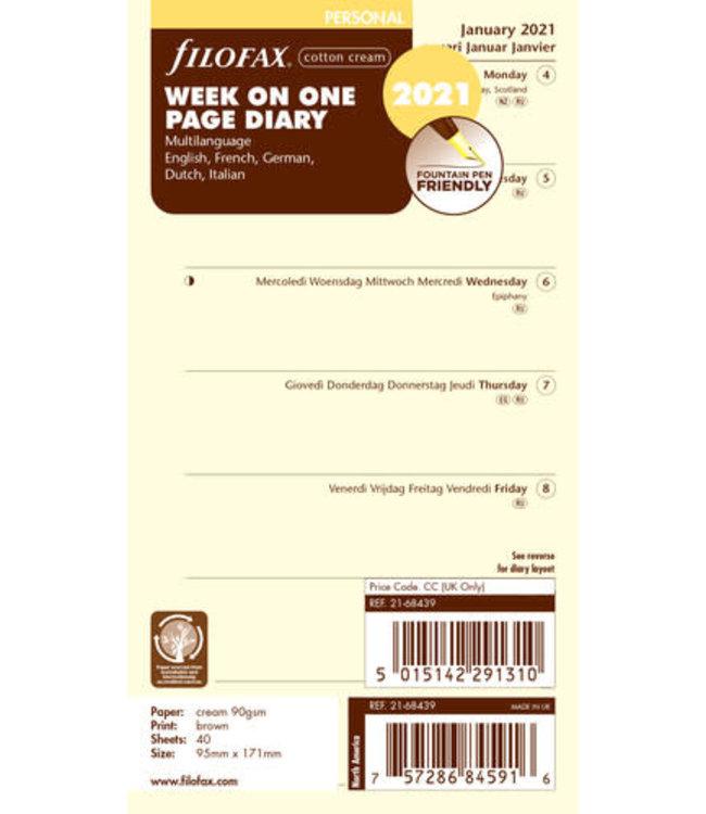 Filofax Filofax Personal Agenda-vulling 2021 (week/pagina) - Crème