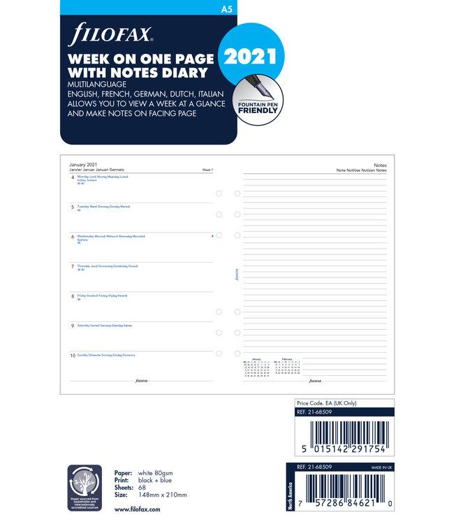 Filofax Filofax A5 Agenda-vulling 2021 (week/pagina)