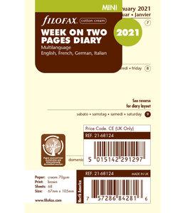 Filofax Mini Agenda-vulling 2021 (week/pagina) - Crème
