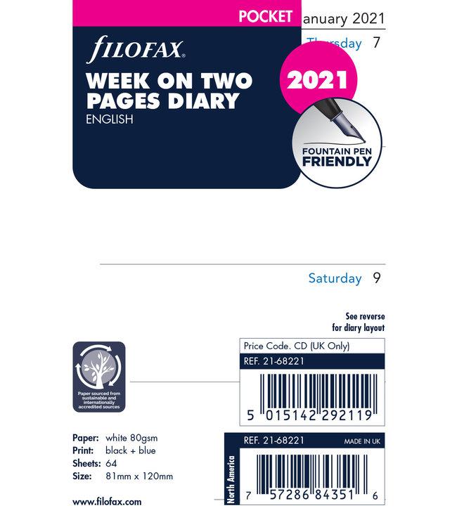 Filofax Filofax Pocket Agenda-vulling 2021 (week/2 pagina's)