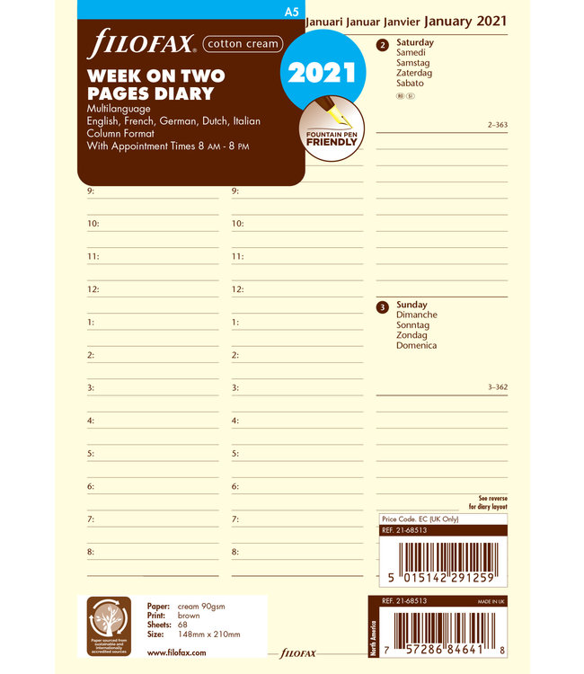 Filofax Filofax A5 Agenda-vulling (week/ 2 pagina's) - Crème