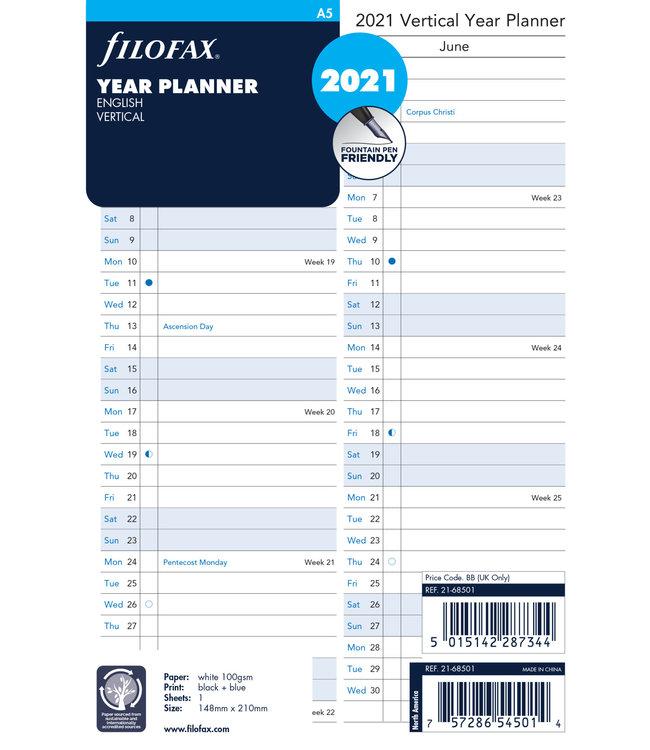 Filofax A5 jaarplanner 2022 (plan-o-rama/vertikaal)