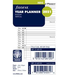 Filofax Mini Jaarplanner  2021 (vertikaal) - Wit
