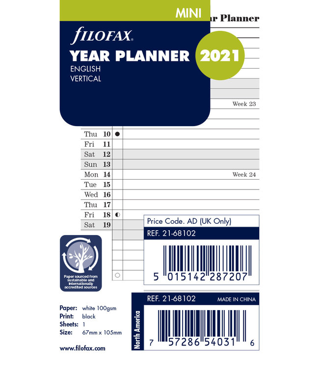 Filofax Filofax Mini Jaarplanner  2021 (vertikaal) - Wit