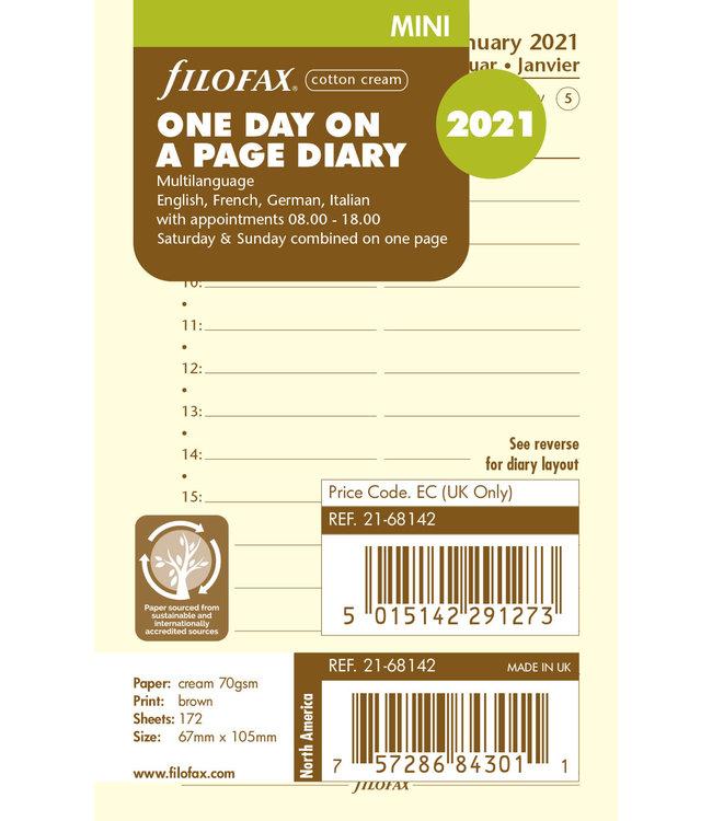 Filofax Filofax Mini agenda-vulling 2021 (dag/pagina) - Crème