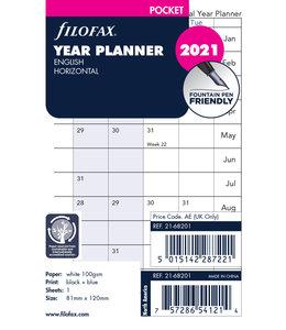 Filofax Pocket Jaarplanner 2021 (Horizontaal) - Wit