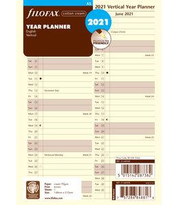 Filofax A5 Jaarplanner 2021 (vertikaal) - Crème