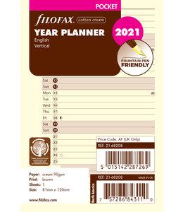 Filofax Pocket Jaarplanner 2021 (vertikaal) - Crème