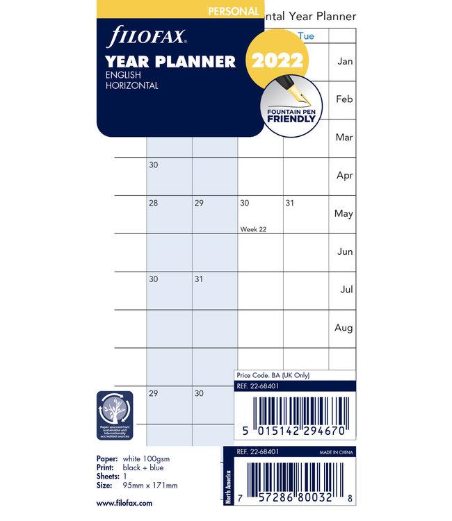 Filofax Filofax Agenda vulling jaar planner horizontaal