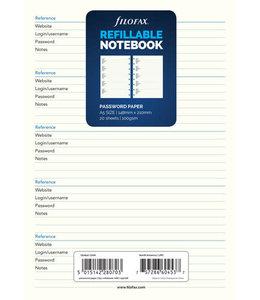 Filofax A5 Notebook Refill Password paper