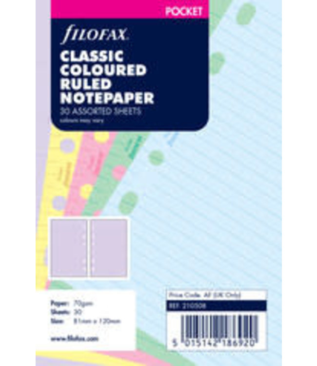 Filofax FILOFAX ORG UND POCKET CLASSIC COLOURED RULED NOTEPAPER