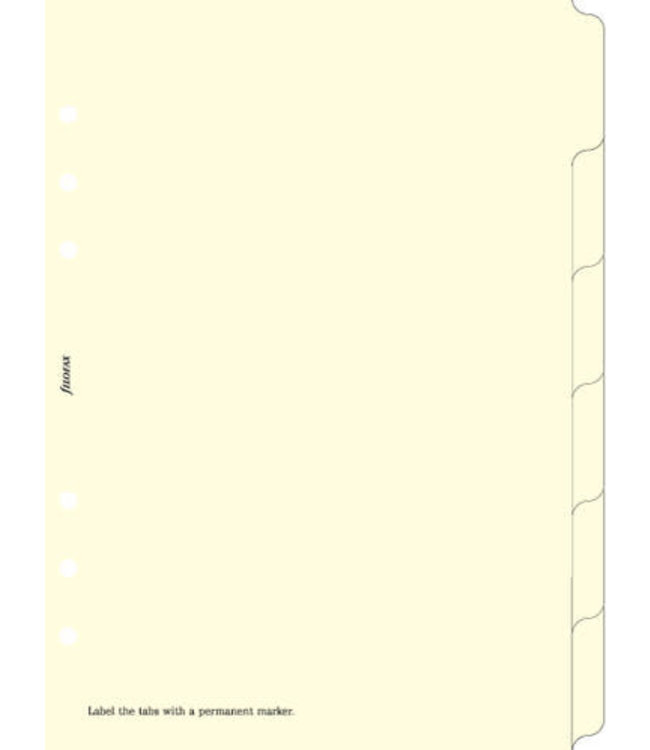 Filofax Filofax ORG UND A5 BLANK INDEX CREAM 6 TABS
