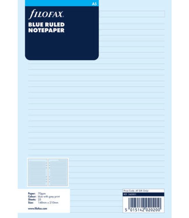 Filofax A5 Organsier Refill Blue Ruled