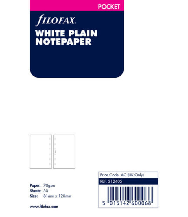 Filofax Pocket Organiser refill White notepaper plain