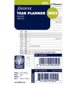 Filofax Mini Jaarplanner  2022 (vertikaal) - Wit
