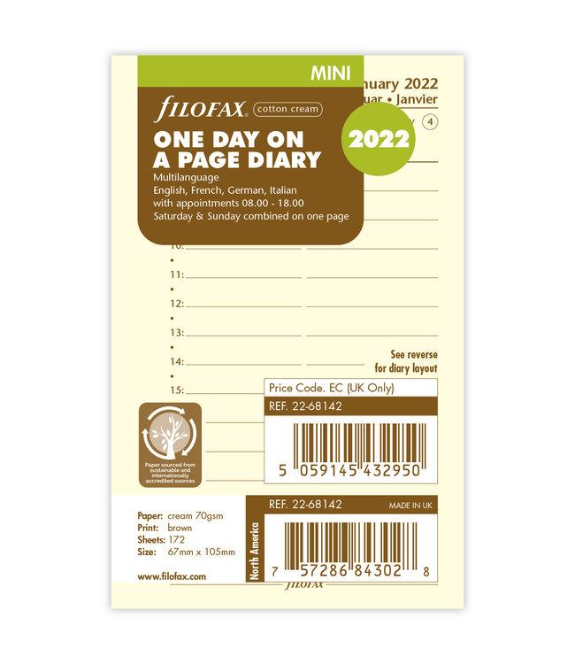 Filofax Mini agenda-vulling 2022 (dag/pagina) - Crème