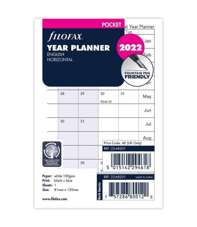 Filofax Pocket jaarplanner 2022 (horizontaal) - wit
