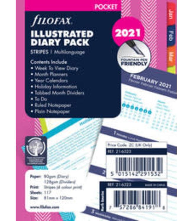 Filofax  Pocket agenda-vulling 2022 STRIPES (week/2 pagina's)
