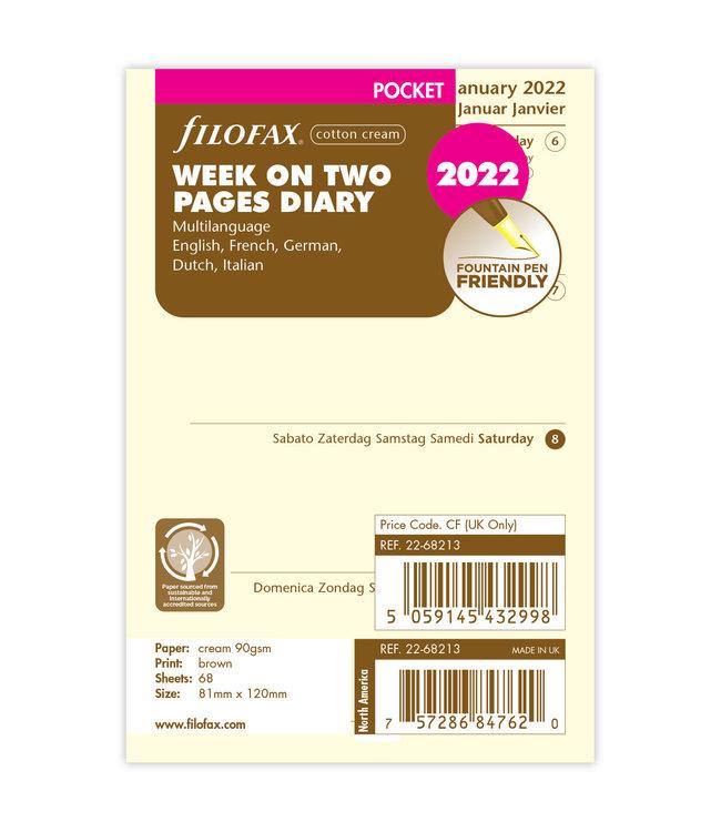 Filofax Pocket Agenda-vulling 2022 (week/2 pagina's) - crème
