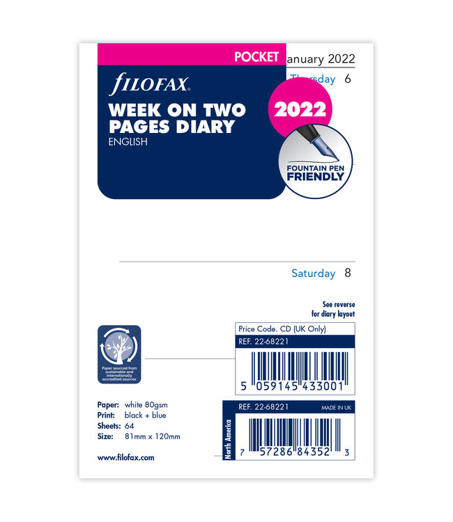 Filofax Pocket Agenda-vulling 2022 (week/2 pagina's)