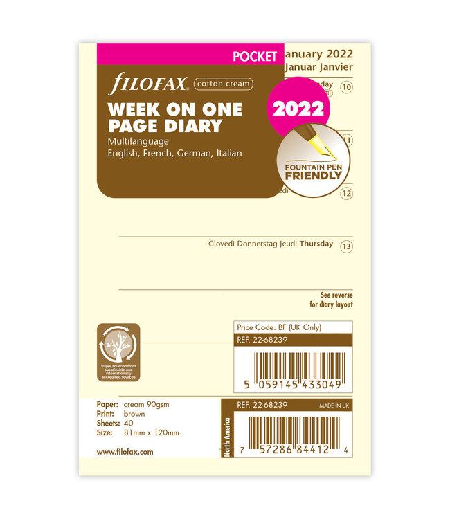 Filofax  Pocket Agenda-vulling 2022 (week/pagina) - Crème