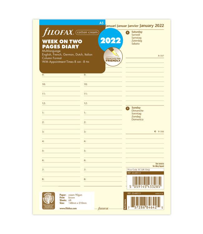 Filofax A5 Agenda-vulling 2022 (week/ 2 pagina's) - Crème