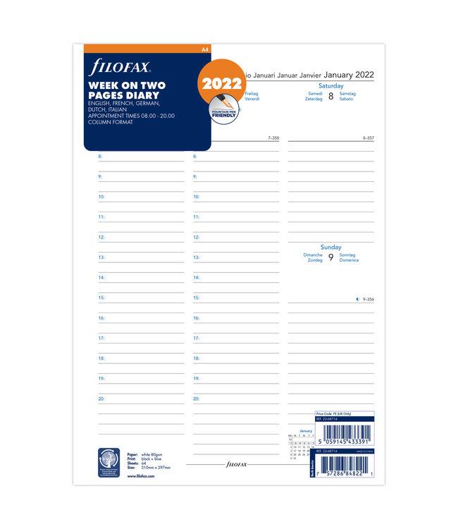 Filofax A4 Agenda-vulling  2022 (week/2 pagina's)