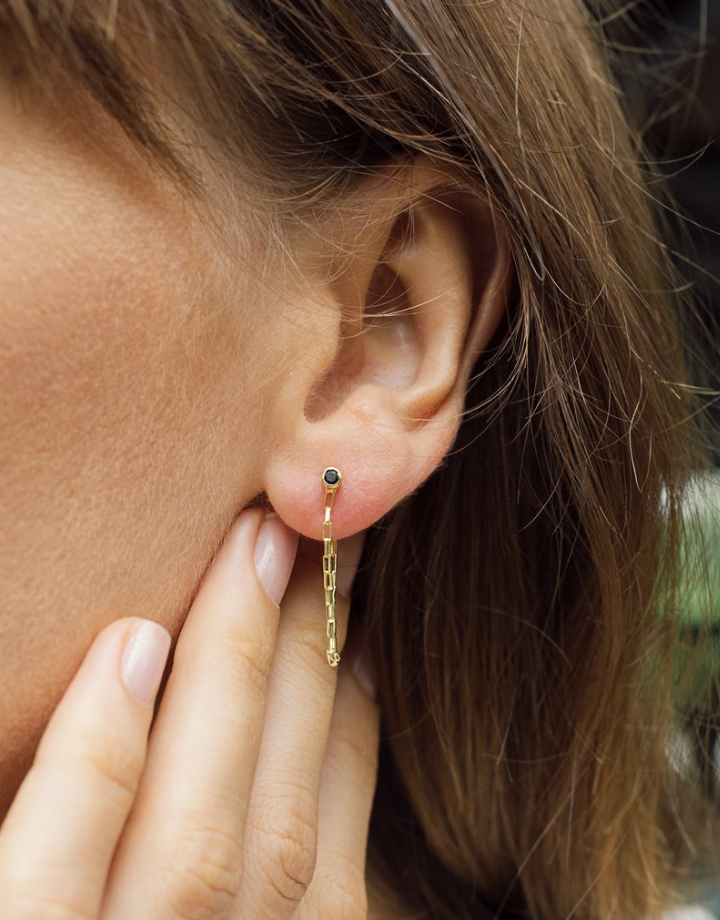 flawed  peony studs -  gold