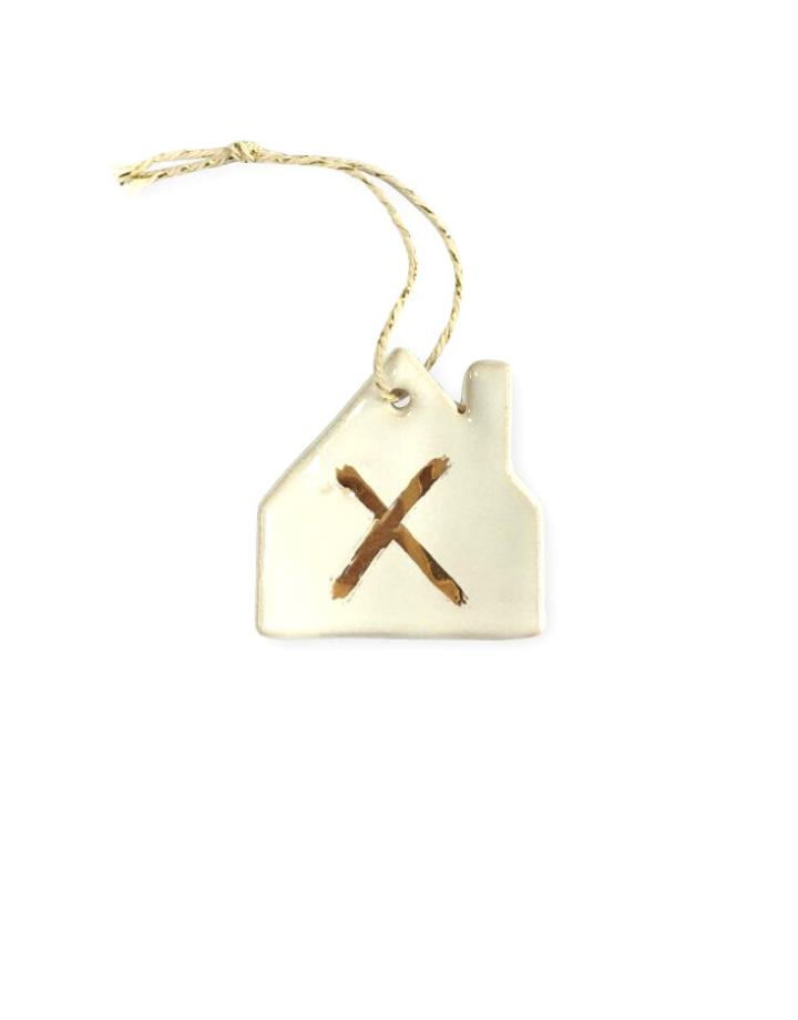 NADesign NADesign hanger keramiek - huis gouden  kruis