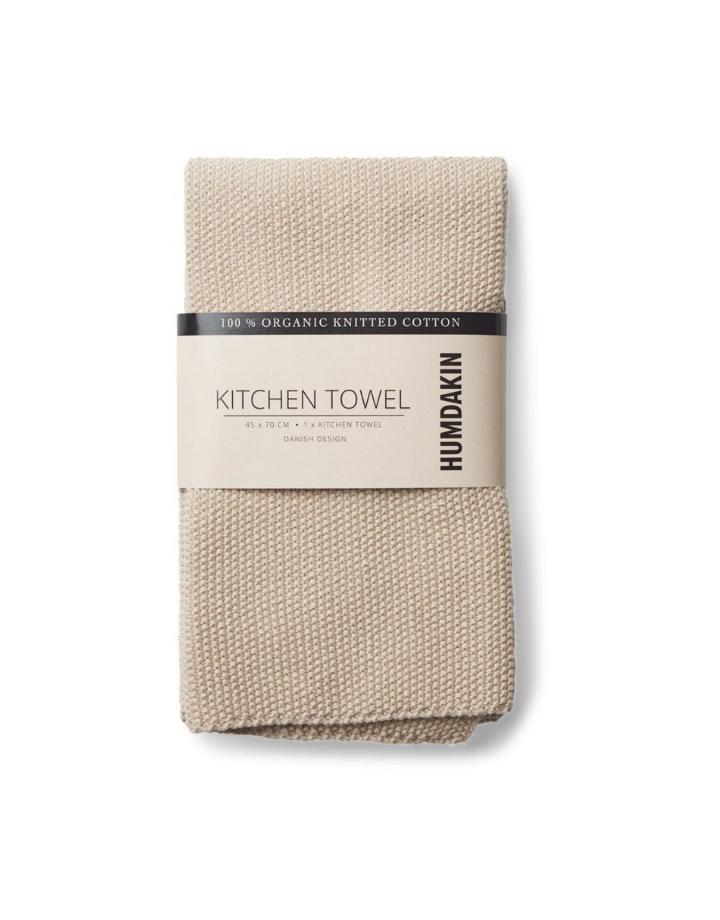 humdakin humdakin knitted kitchen towel - light stone