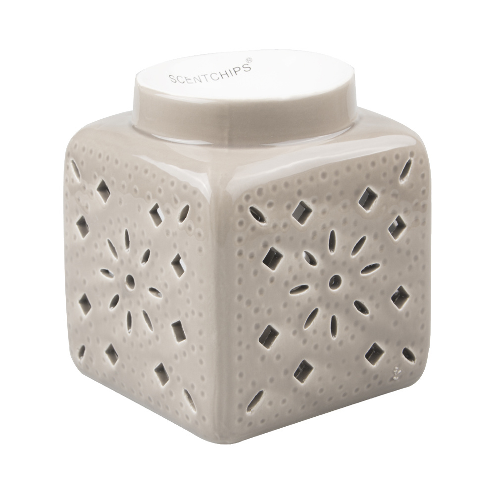 Scentchips® Square Cut Out Patern Taupe wax burner ScentBurner