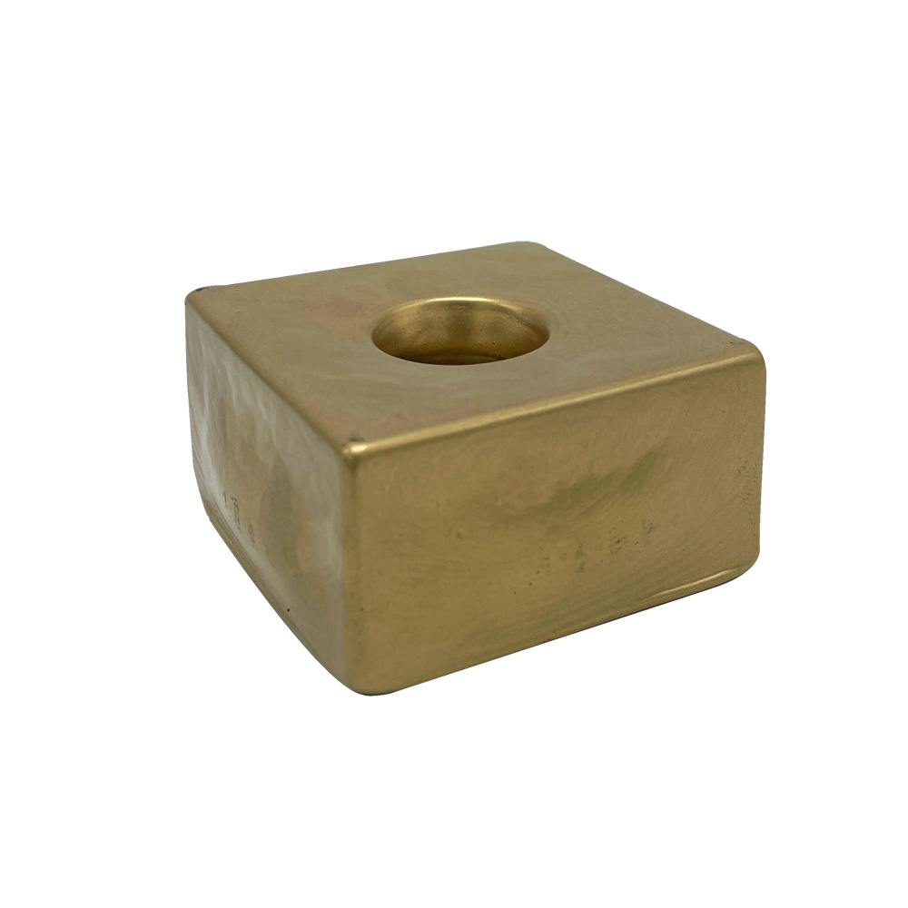Scentchips® Candle Holder Square Glass Gold - Dinner Candle
