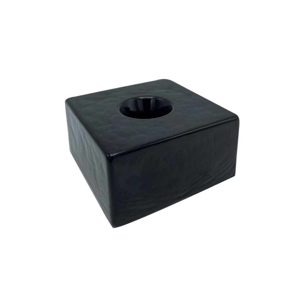 Scentchips® Candle Holder Square Glass Black - Dinner Candle