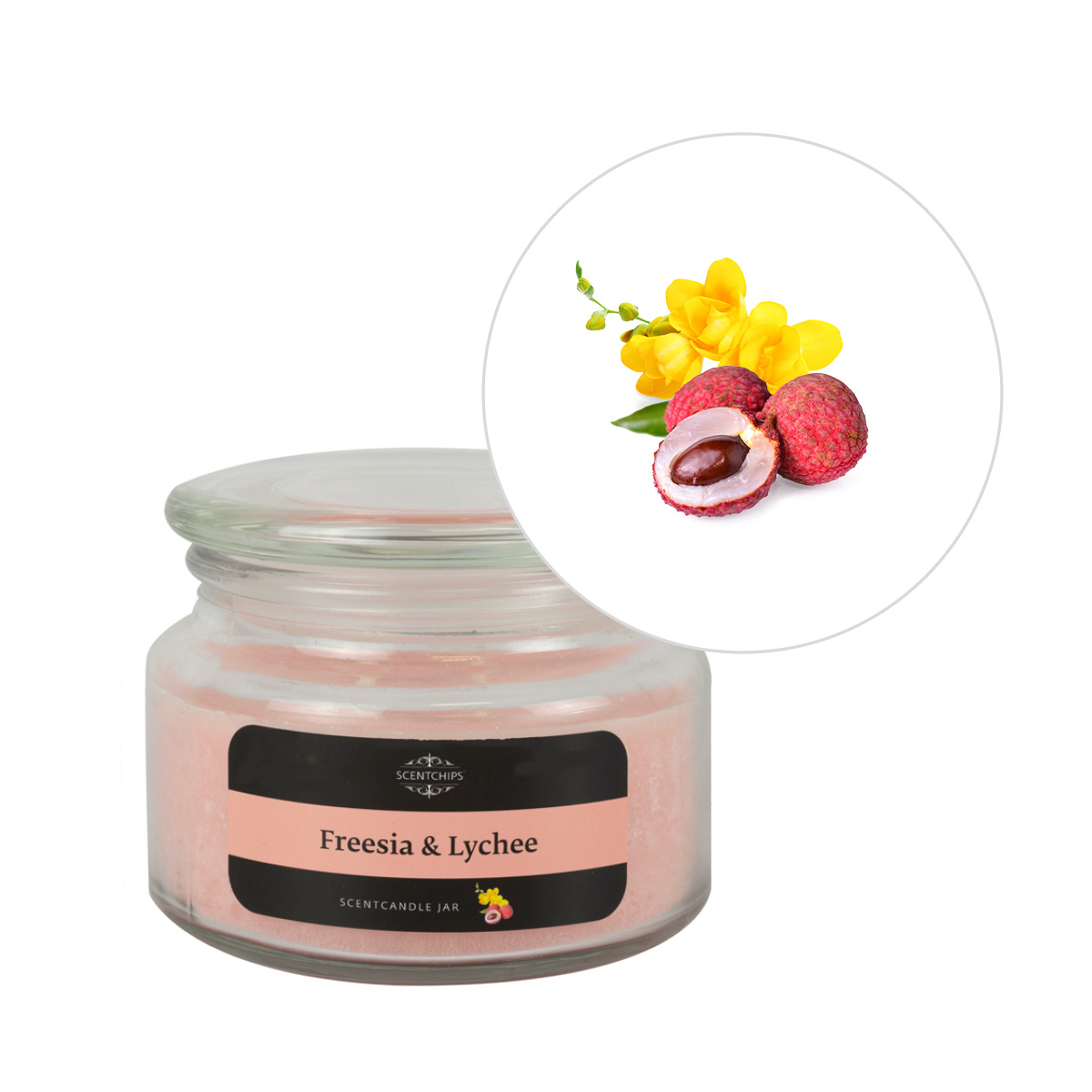 Scentchips® Freesia & Lychee Fragrance candle jar ScentCandles