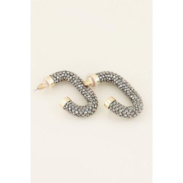 My Jewellery My Jewellery Oorbellen zilverkleurige strass ovaal