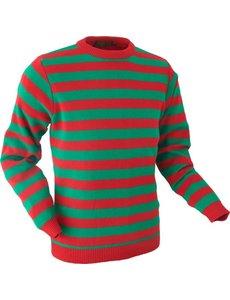 Chenaski Chenaski Trui orange and green stripes