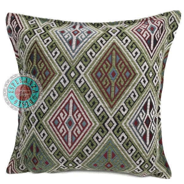 Esperanza Deseo Kussen Olijf groen met rood en wit - Kelim 45x45cm