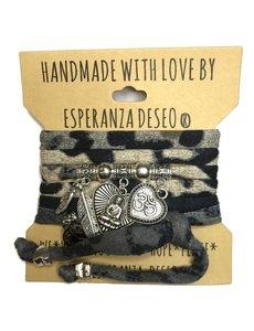 Esperanza Deseo Wikkelarmband animalprint met zilveren Buddha
